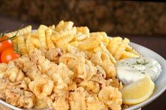 Stekte calamari- och pommesfrittes Royaltyfria Bilder