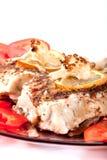 stekte champinjoner för blomkål fisk Arkivfoton