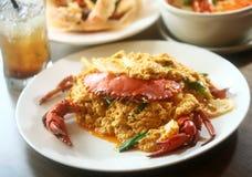 stekte Curry-krabbor Arkivbilder
