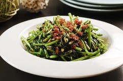 Stekte grönsaker av muongen för morgonhärlighet eller raupå vit plat Royaltyfria Foton