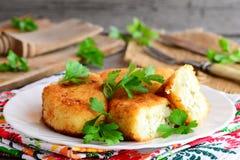 Stekte grönsakkotletter med äggstoppning på en portionplatta Kotletter som lagas mat från blomkålen och potatisar royaltyfri bild