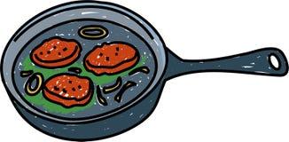 stekte hamburgare stock illustrationer