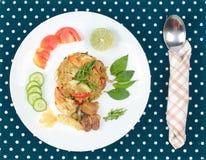 Stekte jasminris i grön curry med blandat kött Royaltyfri Fotografi
