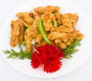 stekte kinesisk mat för smet meat Arkivbild