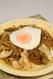 Stekte nudlar för japansk stil med det stekte ägget Royaltyfria Bilder