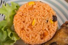 Stekte ris för frukost eller andra gånger Arkivfoto