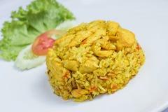 Stekte ris med den gula ingefäran med höna Royaltyfri Fotografi