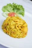 Stekte ris med den gula ingefäran med höna Royaltyfria Bilder