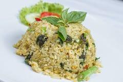 Stekte ris med grön curry med höna Royaltyfria Bilder