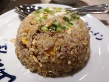 Stekte ris med grisk?tt och ?gget fotografering för bildbyråer