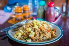 Stekte ris med höna och ägget royaltyfri foto