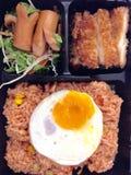 Stekte ris med hotdogen, ägget och stekt kyckling Fotografering för Bildbyråer