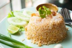 Stekte ris med räka Royaltyfri Fotografi