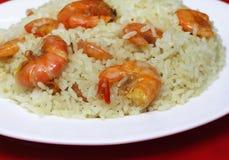 Stekte ris med räka Arkivbilder