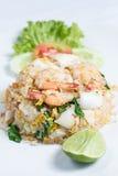 Stekte ris med skaldjur Arkivfoto