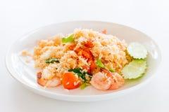 Stekte ris med skaldjur - Thailand Arkivbilder