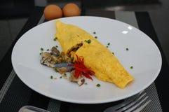 Stekte ris som slås in med omelett Royaltyfri Foto