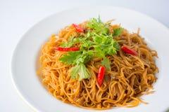 Stekte risvermicellis Berömd kinesisk mat Arkivbild