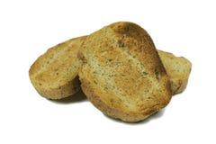 Stekte skivor av bröd med kli royaltyfri foto