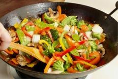 stekte stirgrönsaker royaltyfri foto