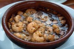 stekte tapas för spanjor för vitlökoljeräkor Arkivfoto