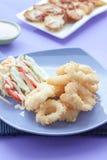 Stekte tioarmad bläckfiskcirklar, Calamari Fotografering för Bildbyråer