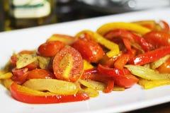 Stekte tomater med chili Fotografering för Bildbyråer