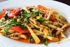 Stekte växt- grönsaker med skaldjur Arkivbild
