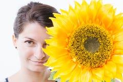 Stel achter een zonnebloem stock foto