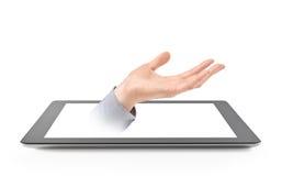 Stel Hand van Digitale Tablet voor Royalty-vrije Stock Foto