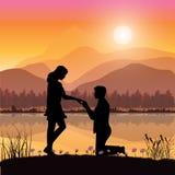 Stel huwelijk voor een rivier, Vectorillustraties Royalty-vrije Stock Foto