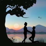 Stel huwelijk voor een rivier, Vectorillustraties Royalty-vrije Stock Afbeeldingen