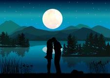 Stel huwelijk voor een rivier, Vectorillustraties Stock Foto