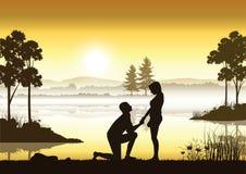 Stel huwelijk voor een rivier, Vectorillustraties Stock Afbeeldingen
