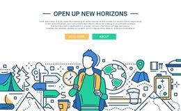 Stel New Horizons open - de websitebanner van het lijnontwerp vector illustratie