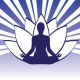 Stel Yogasilhouet Whith Lotos Stock Foto