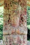 Stela Γ, που χαράζεται υπέροχα στο εναλλασσόμενο ρεύμα 711, επί του των Μάγια archeological τόπου Copan, την Ονδούρα Στοκ φωτογραφίες με δικαίωμα ελεύθερης χρήσης