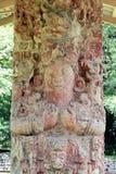 Stela C, admirablement découpé dans C.A. 711, au site archéologique maya de Copan, le Honduras Photos libres de droits