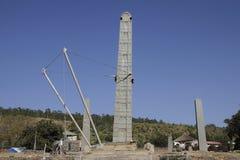 Stela för konung Ezanas i Axum Arkivfoton