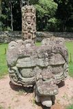 Stela F and its altar (carved in 721 AC) at the Mayan archeological site of Copan, Honduras Stock Images