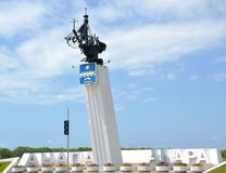 Stela of resort town Anapa, set on Anapa-Kerch route at airport exit Stock Photo