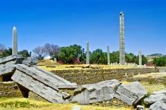 Stelae parkerar i Axum Arkivfoto