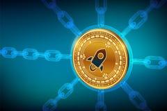 stelarny Crypto waluta Blokowy łańcuch 3D isometric Fizyczna Stelarna moneta z wireframe łańcuchem Blockchain pojęcie Editable Cr ilustracja wektor