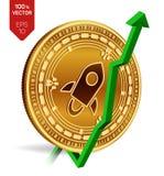 stelarny wzrost zieleń strzała zieleń Stelarna wskaźnik ocena iść up na wekslowym rynku Crypto waluta 3D isometric Fizyczna Złota ilustracji