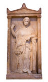 Греческий тягчайший stele от Пирейя показывает возмужалую женщину (375-350 BC) Стоковые Изображения