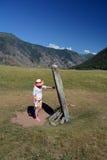 Stele da pedra de Altay Imagens de Stock Royalty Free