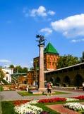 Stele del escudo de armas en el Nizhny Novgorod el Kremlin Imagenes de archivo