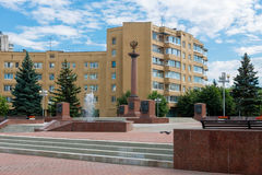 Stele in honor of assignment of Tver ranks the City of military glory. TVER, RUSSIA - JULY 31, 2016: a Stele in honor of assignment of Tver ranks the City of Stock Image