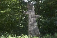 Stele met het Restaurant ` van de inschrijvings` Toren op de weg aan berg Grote Ahun, Sotchi Stock Foto