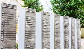 Stele mit dem Namen der chemischen Zusammensetzung des Wassers kolonnade stockfotografie